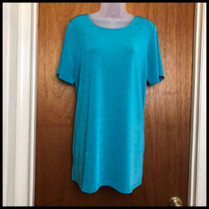 Body Hugging Stretch Turquoise Tunic Top